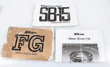 NIKON MANUALS SET OF 3, SB-15 SPEED LIGHT, FG   NIKKOR 50MM F 1.8