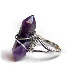 Purple amethyst point hexagonal prism point ring female male open rings jewelry
