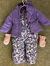 Pink Platinum 2T Toddler Girls Snow Suit Winter Jacket Overalls Gloves Purple