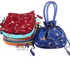 5pcs Embroidered Flower New Fashion Women Silk Satin Purse Jewelry Bag Handbag