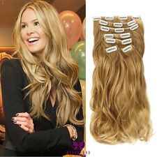 "22"" Clip In Synthetic as human Wavy Hair Extensions Ombre Dip Dye Hairpiece #201"