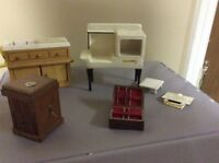 Dollhouse Miniature  Vintage Furniture Stove Sink Recorder Silver Chest