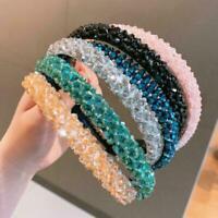 Frauen Mädchen Strass Haarband unregelmäßigen Kristall Perlen Haarband Zube Q2U5