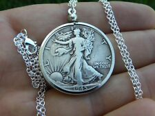 1945 Authentic circulated silver walking liberty half  dollar  coins  necklace