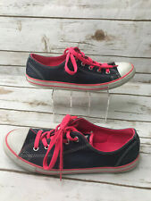 Converse Womens 7 Chuck Taylor All Star Low Top Sneakers Shoes Navy Neon Pink OX