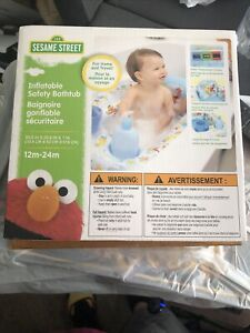 New, Sesame Street, Inflatable Safety Bathtub. 30.5 x 20.5 x 7 In Blue - White