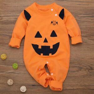 Toddler Baby Halloween Clothes Pumpkin Jumpsuit Bodysuit Newborn