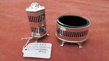 A Lovely Solid Silver Pierced Design Salt & Pepper Set Hallmarks Birmingham 1945