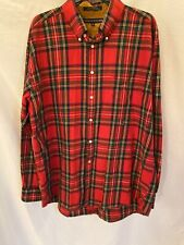 Vintage Men's Tommy Hilfiger Shirt Button up Red Gold Plaid Classic Holiday  XL