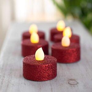 Lot 6 bougies Led à pailletes Rouge - Féérie Christmas Décoration lumineuse