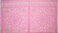 Pink Ribbon Bandana Fabric ~ 100% Cotton By The Panel ~ Windham Project Pink