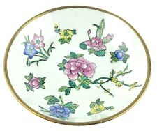 """Old Vintage China Lined Brass Bowl Wall Hanging 6"""" Purple Blue Yellow Flowers"""