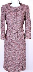 ST.JOHN Womens Suit Knit Tweed Pink Gray Brown Zip Jacket & NWT Skirt Sz 10