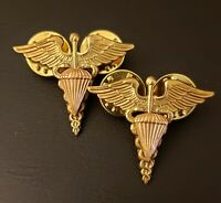 Medical Parachute Officer Collar Brass Pin US Army Airborne Medic Insignia Lot