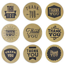 Aufkleber Sticker THANK YOU Kraftpapier DANKE Etiketten rund 4 cm Scrapbook 45St
