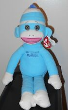 Ty Beanie Buddy - MY LITTLE MONKEY BLUE the Sock Monkey (Plush ~ 16 inch) MWMT