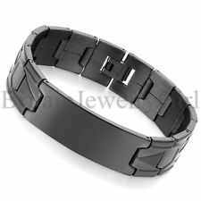 "7.9"" Men Unisex Black Stainless Steel Cuff ID Wristband Bangle Bracelet*16MM"