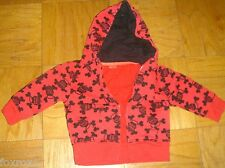 Paul Frank Size 18 M Jacket Zip Hoodie Baby Boys Girls Red Black Monkey Sweat