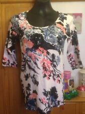 DOROTHY PERKINS MULTI COLOURED FLORAL 3/4 SLEEVED TOP - SIZE 14
