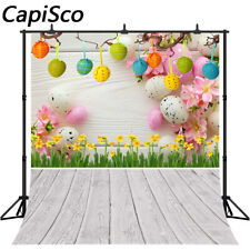 Spring Easter Photography Backdrops Yellow Flowers Eggs Wood Floor Backgrounds