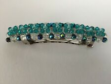 Teal Swarovski Crystal Bicone & Crackle Glass Beaded  Barrette Hair Jewelry