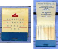Pochette d'allumettes complète, années 1980-1990, Niagara Hotels Inc, Canada