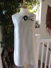 River Island Ivory Lined Flower Pearl & Glass Detail Dress size 10 .