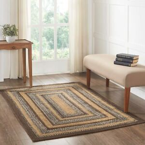 VHC Espresso Brown Black Tan Creme Country Rectangle Braided Rug W/Pad