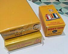 dinky toys atlas - lot boites panneaux 40 et 41 et poste ravitaillement 49 D