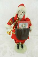 """Vintage House of Global Arts Santa Claus Doll w-Stand Book Horn 11"""" Christmas"""