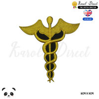 Caduceus Symbol Medical Embroidered Iron On Sew On Patch Badge For Clothes etc