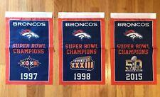 """Denver Broncos NFL Super Bowl Champions 3 Banners/Flags Set 18.5"""" x 11.5"""""""