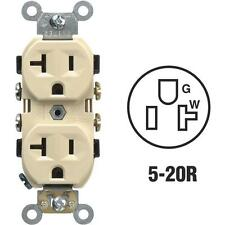 100 Pk Leviton 20 Amp 120V Ivory NEMA 5-20R Duplex Electric Outlet  S01-CR20-IS