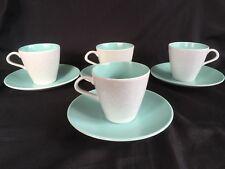 POOLE POTTERY-Twintone~*Ice Green & Seagull*~4 CUPS & SAUCERS-Streamline Shape