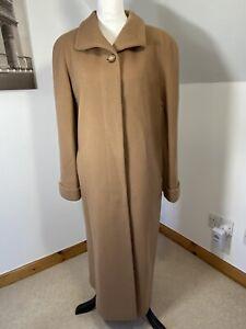 MARCONA Design Full Length Coat Size 16 Camel Brown Tan Virgin Wool & Cashmere