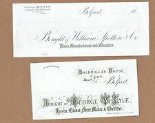 Two 1860s billheads, Belfast, Northern Ireland. William Spotten & George Kyle