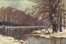 The Long Water in winter, Hampton Court. London. By Ernest Haslehust 1920