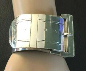 VTG Sterling Silver Bracelet WIDE Belt Buckle Bangle ART DECO 1930s 73g 925#1283