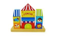 Wooden Blocks Stacking Toy, Circus Stacker Blocks, Wooden Toddler Toys