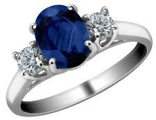 Azul Zafiro Anillo Con Diamante 1.10 quilates en oro 14K