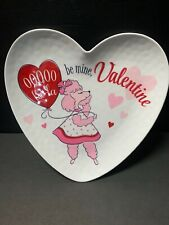 Pottery Barn Kids Retro Valentine Day Poodle Dog Puppy Plate Party Table Gift Nw
