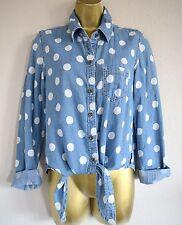 Seven 7 Jean Polka Dot Knot Front Shirt sz XS