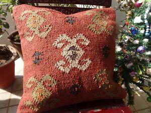 Indian Kilim Cushion Cover Hand Woven Jute Pillow Case 18x18 Home Decor Cushions