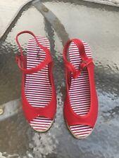Ladies E-vie Red Peep Toe Slingback wedge Sandals Size UK 7.