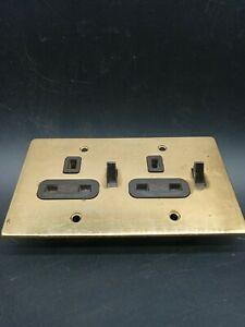 Vintage 13 Amp Square Pin Plug double Socket Brass Bakelite Switched Walsall GEC