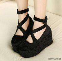 Platform Womens Gothic Wedge Heels Velvet Boot Mary Chic Shoes Round Toe New