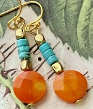 Gold, Turquoise Blue Heishi and Faceted Yellow Orange Coral Earrings.