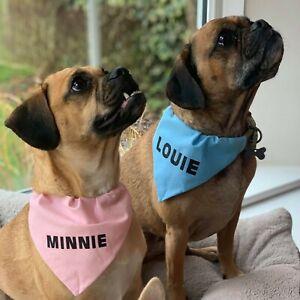 Personalised Coloured Dog Bandana Slip On Collar Scarf Neckerchief Neck Tie Gift