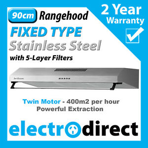BRILCON 90cm Fixed Rangehood Stainless Steel Range Hood 900mm Built-in with LED