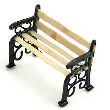 1 12 Wooden Bench Seat Black Dolls House Miniature Garden Ornament Furniture DIY